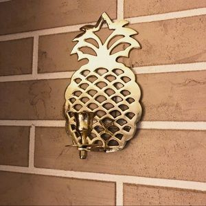 Vintage Gold Pineapple Wall Candle Holder